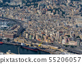 Genoa old town harbor aerial view 55206057