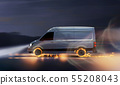 Fast delivery van with burning tires 55208043