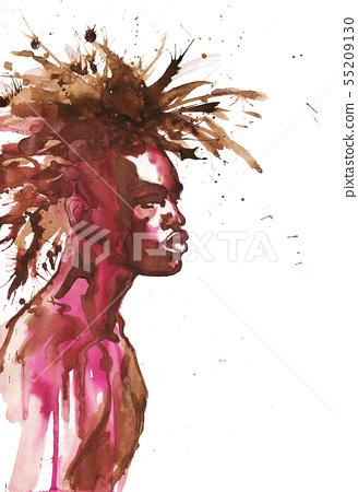 Watercolor african man 55209130