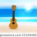 Ukulele on the beach, against the background of the sea or ocean. Vector illustration in a tropical 55209466