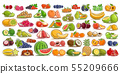 Vector set of fresh Fruits and Berries 55209666