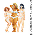 Watercolor body positive women 55209709