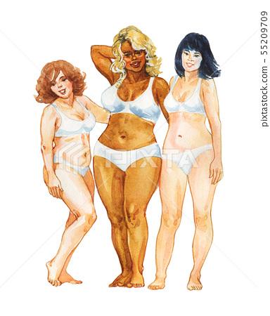 Watercolor body positive women 55209709