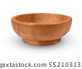 wooden bowl isolated on white background 55210313