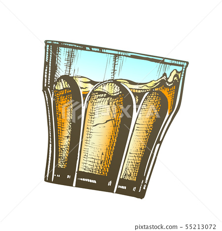 Design Glass With Bourbon And Ice Cubes, Glass Ice Cubes Vector