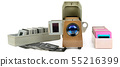 Old slide projector and set of slides isolated on 55216399
