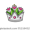 Silver crown with tulips. Vase. 55216432