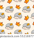Kawaii hedgehogs, autumn maple leaves. 55216977