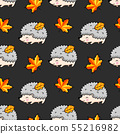 Seamless pattern of graphic spiky hedgehogs. 55216982