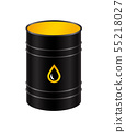 Black metal realistic barrel with oil. 55218027