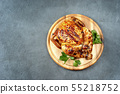 Roasted chicken on the grey rustic background 55218752