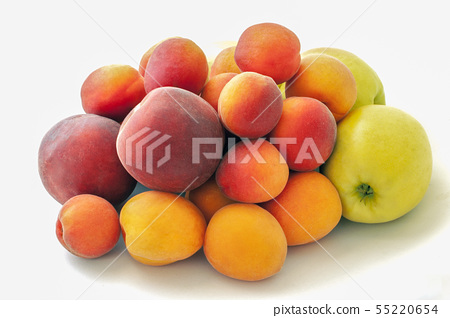 Fresh juicy peaches fruits, green apples and ripe apricots isolated on white background. Summer 55220654
