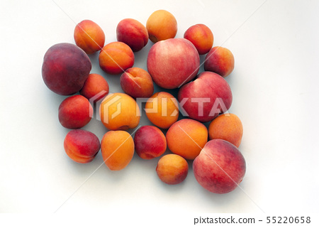 Fresh juicy peaches fruits and ripe apricots isolated on white background. Summer fruit concept 55220658