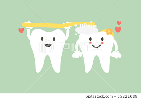 cute couple tooth are brushing teeth with heart 55221089