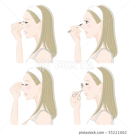 Illustration of a woman doing makeup 55221802