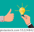 Hand with idea bulb, other hands showing thumbs up 55224842