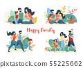 Happy Family Summer Banner Set. Picnic, Walking 55225662