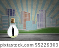 Businessman trapped in bulb 55229303