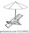 Folding garden lounger and open parasol. 55229902