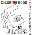 Coloring book boy and pets by letter E 55232441