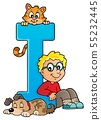 Boy and pets with letter I 55232445