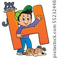 Boy and pets with letter H 55232446