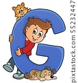 Boy and pets with letter G 55232447
