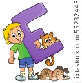 Boy and pets with letter E 55232448