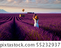 Asian girl travel in lavender field 55232937
