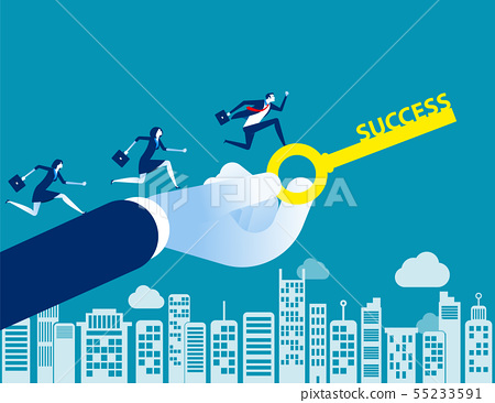 Business team with key to success. Concept 55233591