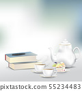 afternoon tea or coffee set with books and pen 55234483