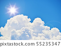 Clouds and sunlight flares 55235347