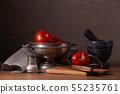 Vintage still life with red ripe tomatoes 55235761