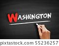 Washington text on blackboard 55236257