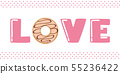 pink love typography with donut and sprinkles 55236422