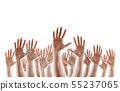 Group of raised hands with open palms 55237065