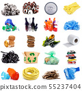 Recyclable waste collage in white background 55237404