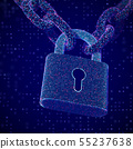 The concept of digital data protection: a closed lock on the chain. 55237638