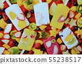 Colorful  fruit ice-cream and mixed fruits  55238517