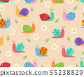 Seamless pattern of cute snail with flower  55238829