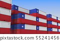 Container terminal full of containers with flag of Chile. Chilean export or import related 3D 55241456