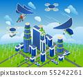 Eco smart city on isolated background 55242261