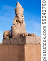 Authentic antique Egyptian sphynx on quay of the 55242750