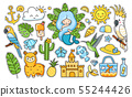 Big summer tropical stickers pack. 55244426