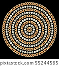 Round pattern made with golden chains and pearls. On black. Vector illustration 55244595
