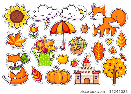 Big set of cute autumn plants, foxes, clouds. 55245028