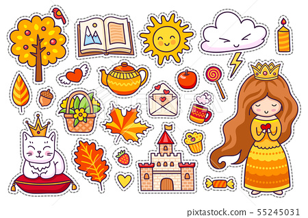 Set of cute autumn stickers. 55245031
