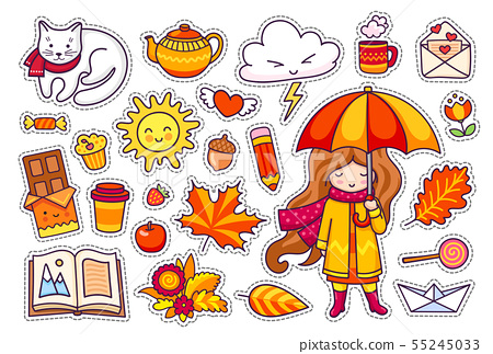 Autumn set, hand drawn elements. 55245033