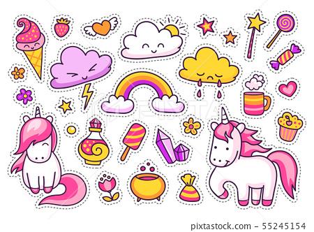 Cool stickers set of unicorns, clouds, rainbow. 55245154