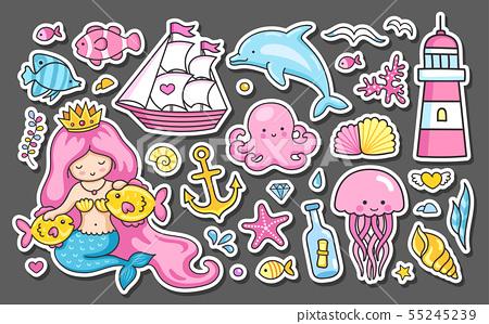 Set of summer sea stickers. 55245239